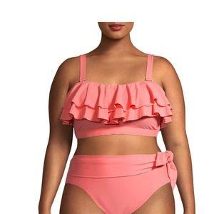 Time and Tru Plus Size Orange Flounce Bikini Top